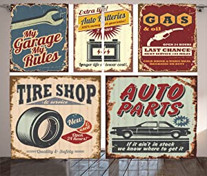 Ambesonne 1950s Decor Collection, Vintage Car Metal Signs Automobile Advertising Repair Vehicle Garage Classics Servicing Image, Living Room Bedroom Curtain 2 Panels Set, 108 X 84 Inches, Burgundy