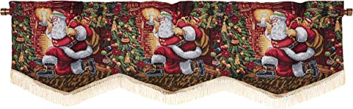 Violet Linen Decorative Christmas Tapestry Window Valance, 60 x 15 , Santa Claus Design