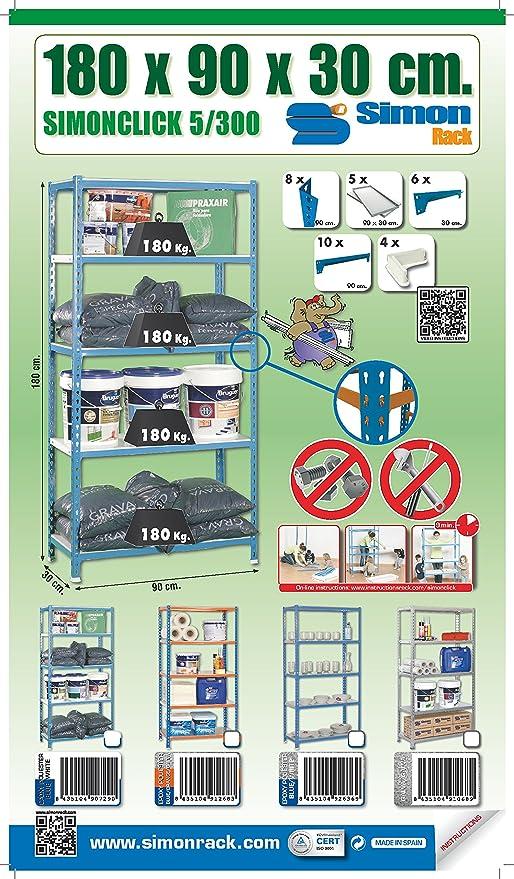 Amazon.com: Simonrack 5/300 Simonclick Kit Shelf, Blue/White: Home Improvement