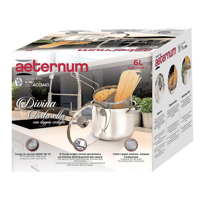 Aeternum Y0DVPSD220 olla para pasta 6 L Acero inoxidable 22 cm - Ollas para pasta (6 L, Acero inoxidable, Acero inoxidable, Cerámico, Gas, Halógeno, ...