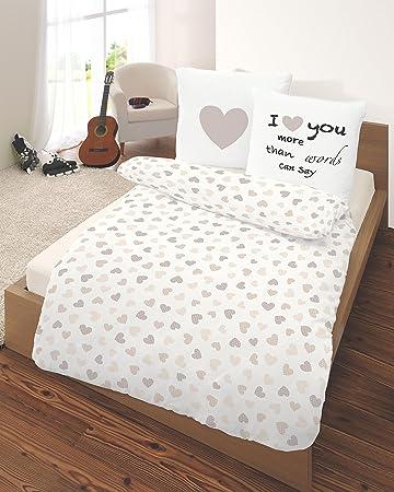 Herz Fein Biber Bettwäsche 155 X 220 100 Baumwolle Heart Love