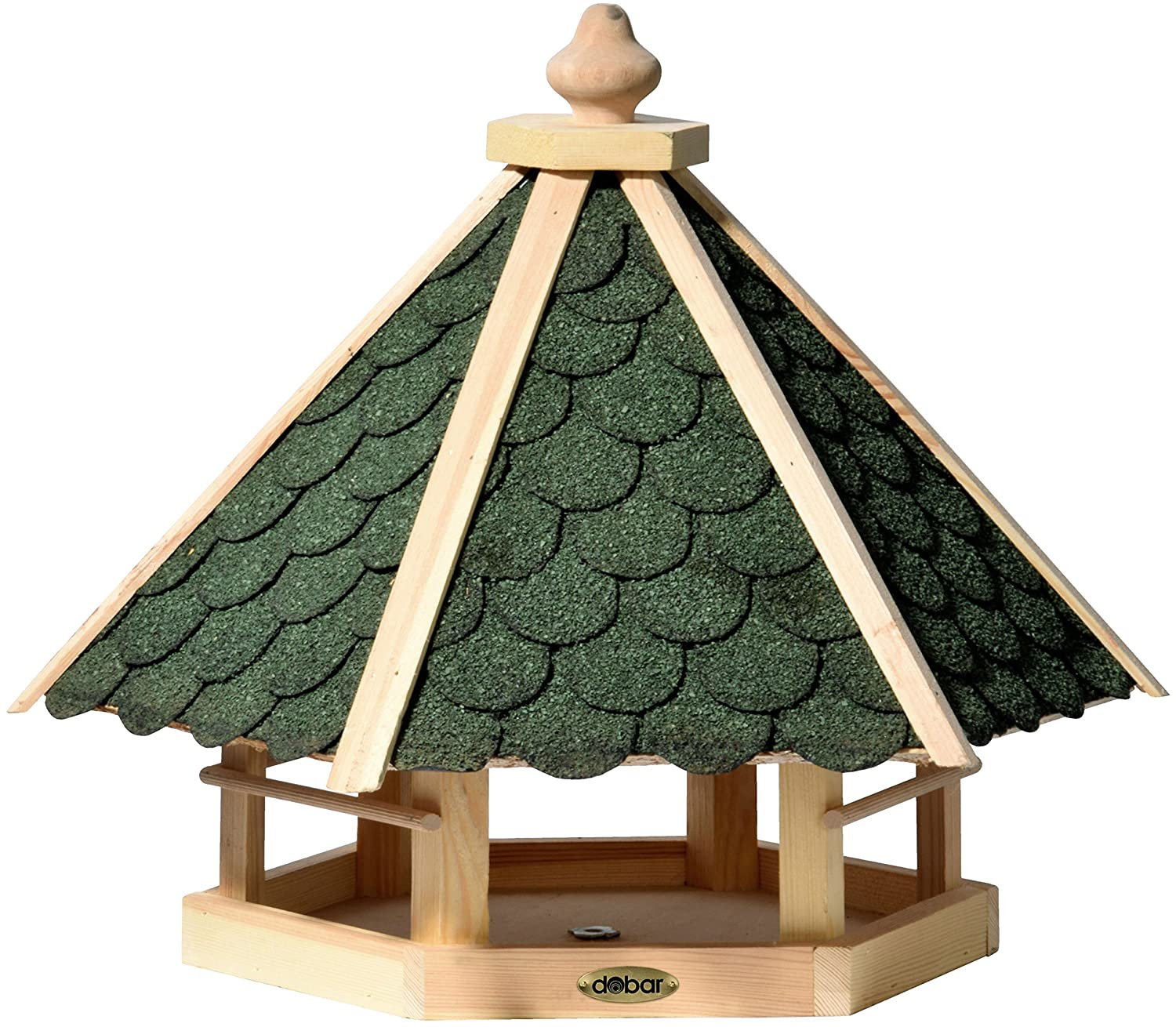 Dobar Bird House Made of Wood (Pine) with Green Bitumen Roof Shingles For Desk or Wall Mounted Square Hexagonal