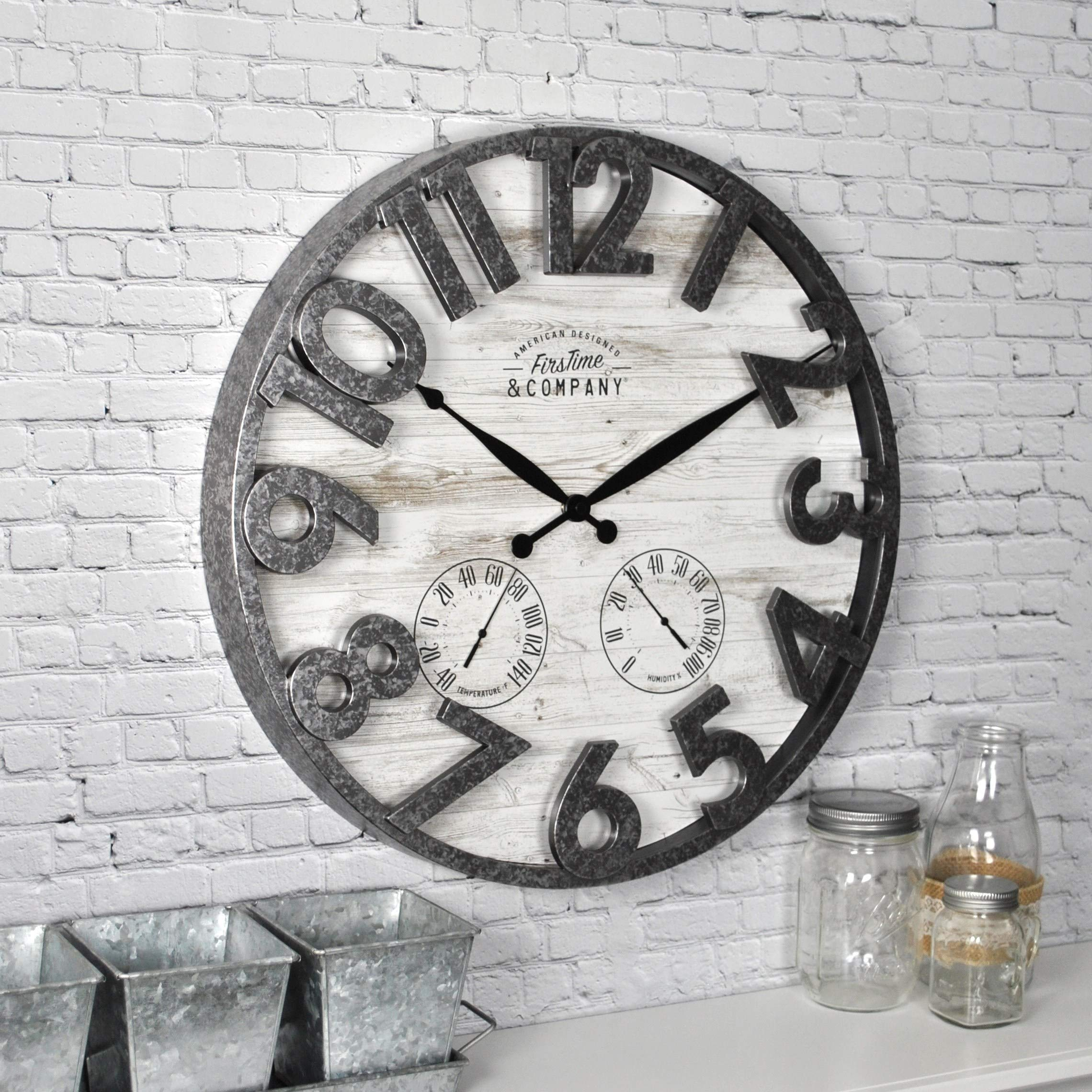 MISC Shiplap Wall Clock Distressed Background Large Numbers Thermometer Hygrometer Hanging Indoor/Outdoor Timepiece, 18'' Round