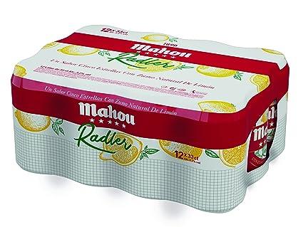 Mahou 5 Estrellas Radler Cerveza Lager Nacional con Zumo de Limón - Pack de 12 Latas