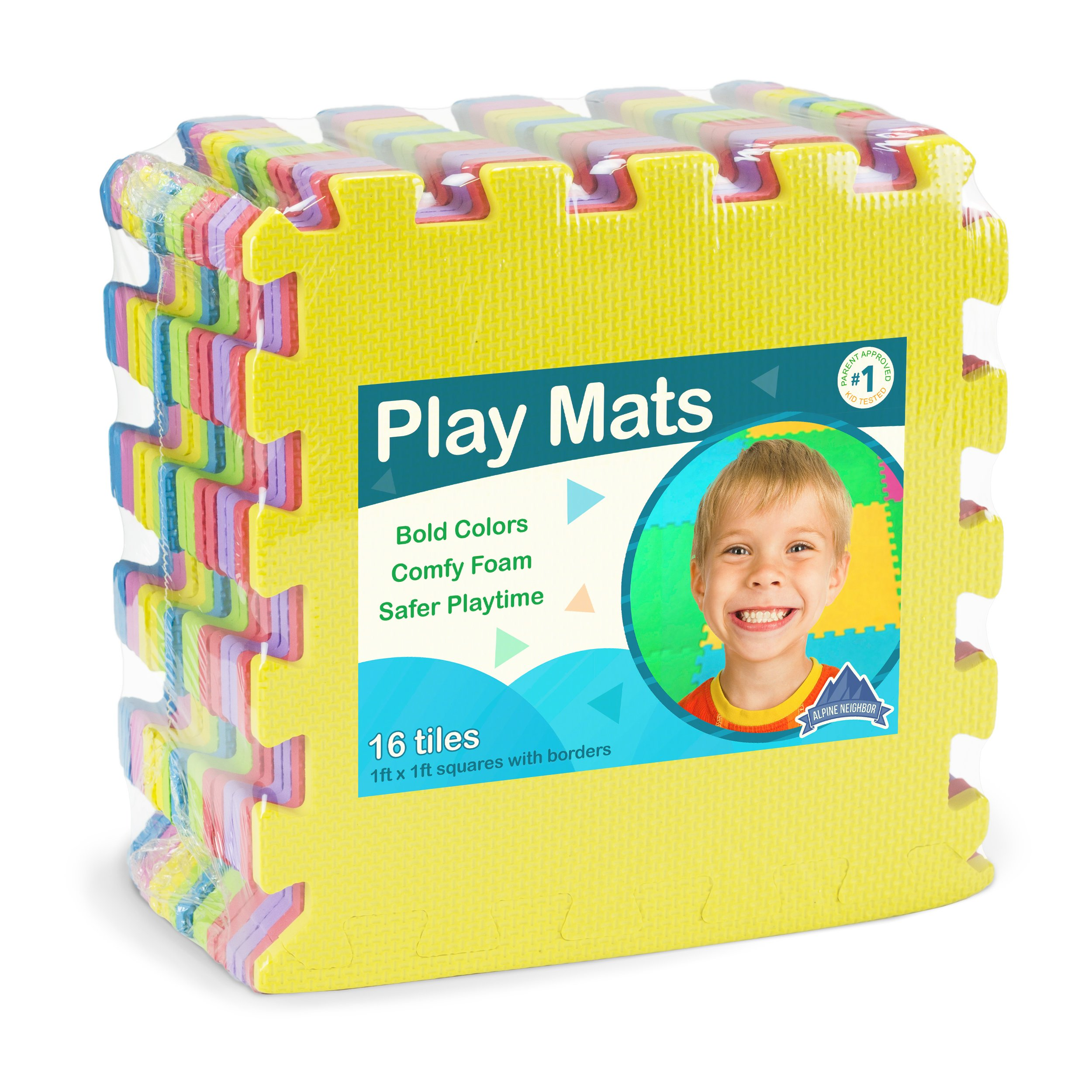 Foam Play Mats 16 Tiles Borders Safe Kids Puzzle