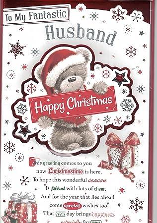 husband christmas card with love for my husband happy christmas bear xmas tree