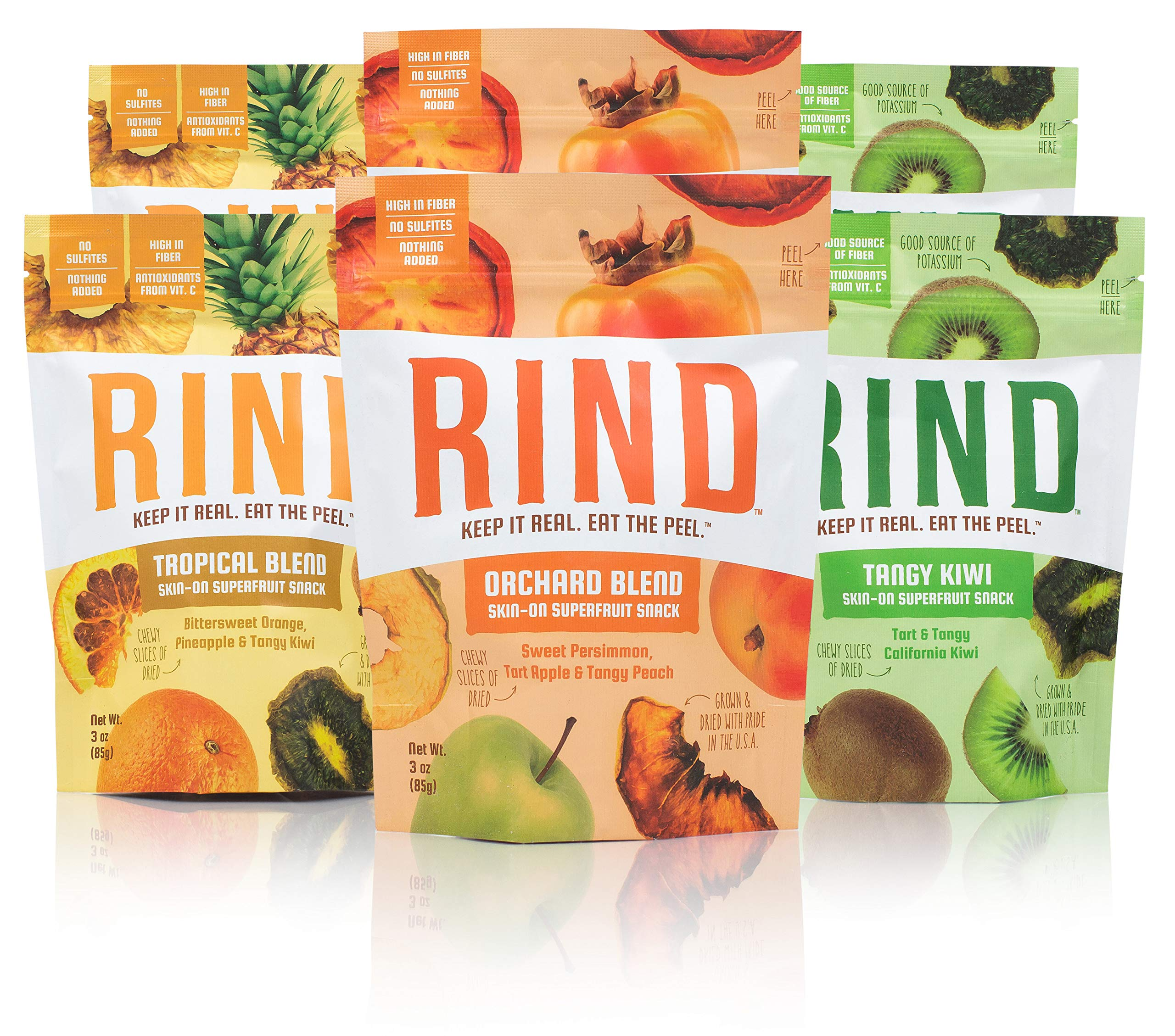 RIND Snacks Sun-Dried Skin-On Superfruit Snack Variety Pack, Tropical Blend, Orchard Blend, and Tangy Kiwi, High Fiber, No Sulfites, Antioxidants from Vitamin C, Gluten-Free, 3oz Pouch, Pack of 6 by RIND Snacks