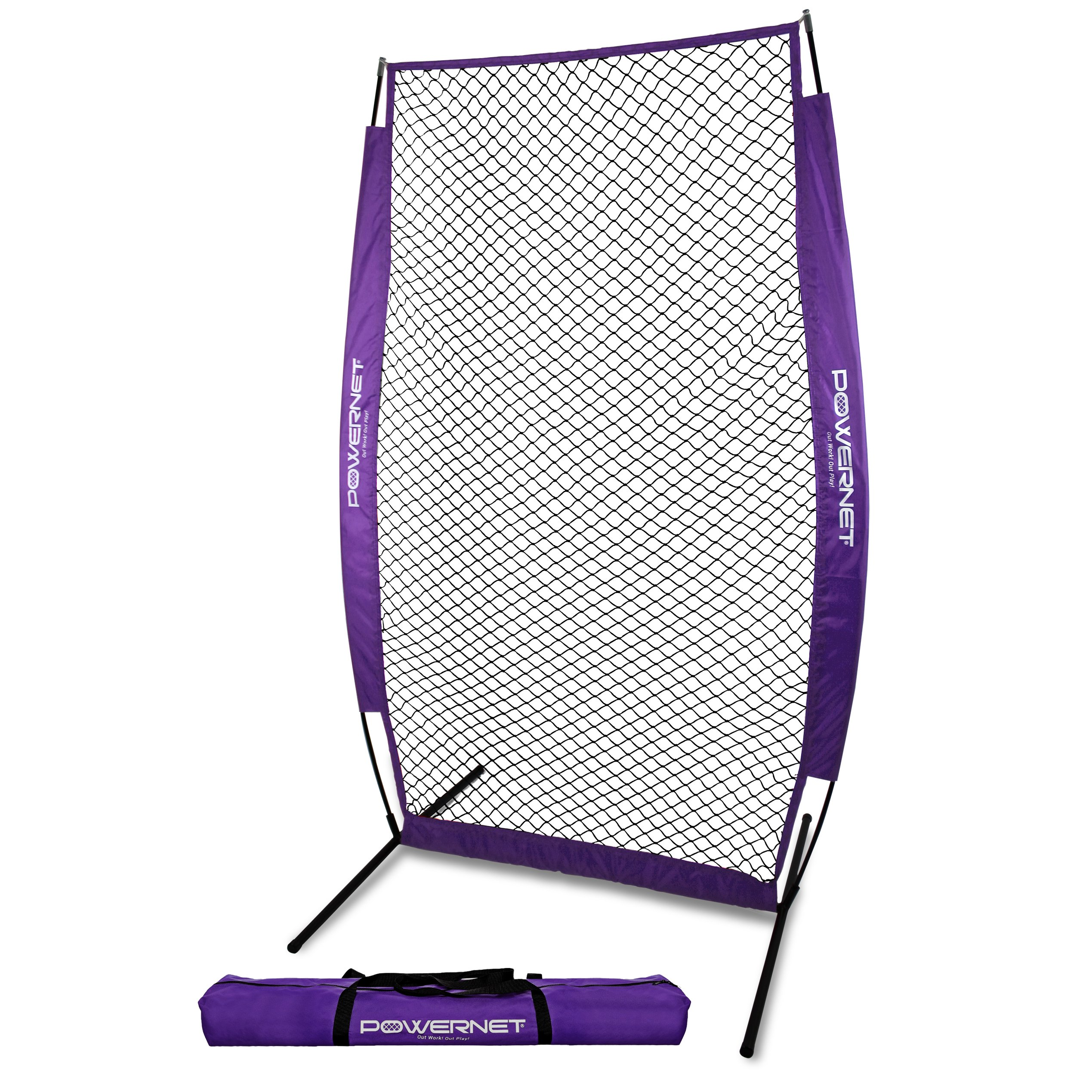 PowerNet I-Screen with Frame and Carry Bag (Purple) | Portable Baseball Pitcher Protection at Batting Practice | Instant Player and Coach Protector from Line Drives Grounders | Heavy Duty Netting