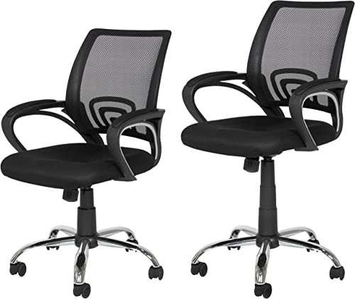 Best Choice Products Ergonomic Computer Home Office Chair w/Mesh Design Black w Chrome Leg