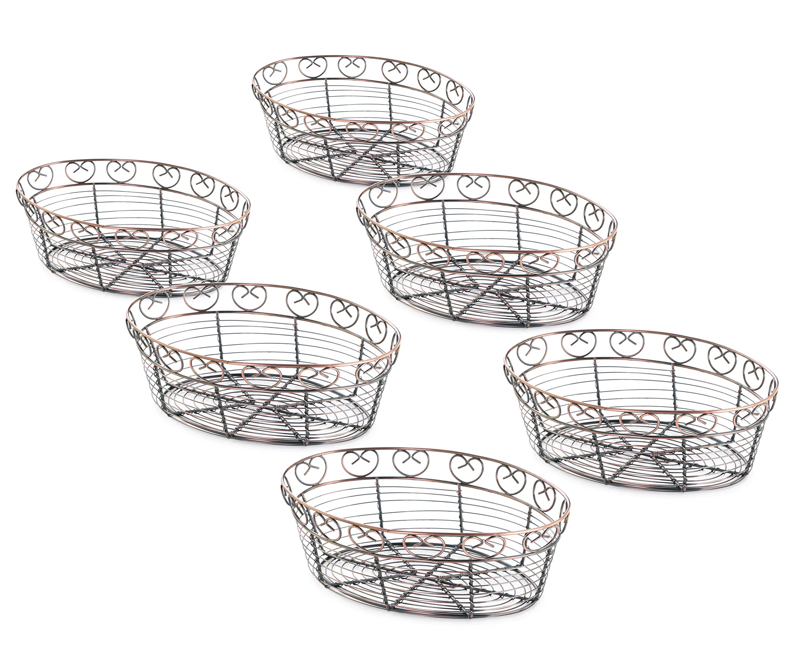 New Star Foodservice 22117 Antique Bronze Finished Oval Wire Bread Basket, 10 by 6.5 by 3-Inch, Set of 6