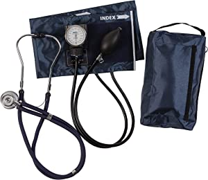 MABIS MatchMates Aneroid Sphygmomanometer and Sprague Rappaport Stethoscope Combination Manual Blood Pressure Kit with Calibrated Nylon Cuff, Professional Quality, Carrying Case, Navy Blue