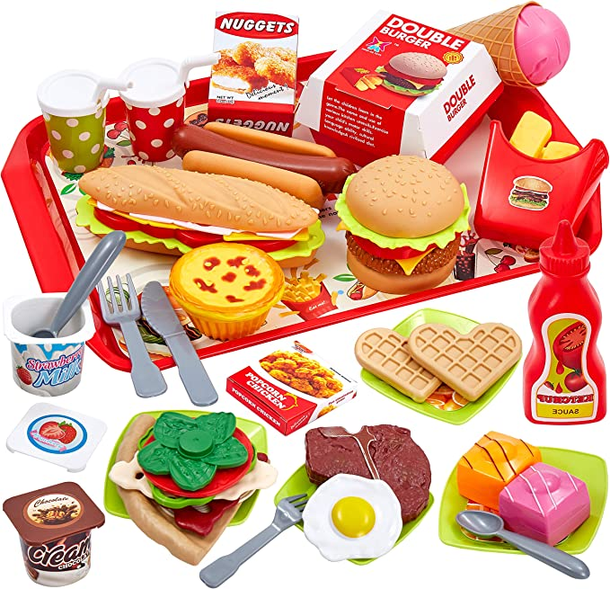 Buyger 63 Piezas Cocina Alimentos de Juguete Bricolaje Cocinitas Comida Hamburguesa Bandeja Juguete Accesorios Cumpleaños Navidad Regalo para Niños 3 4 5 Años