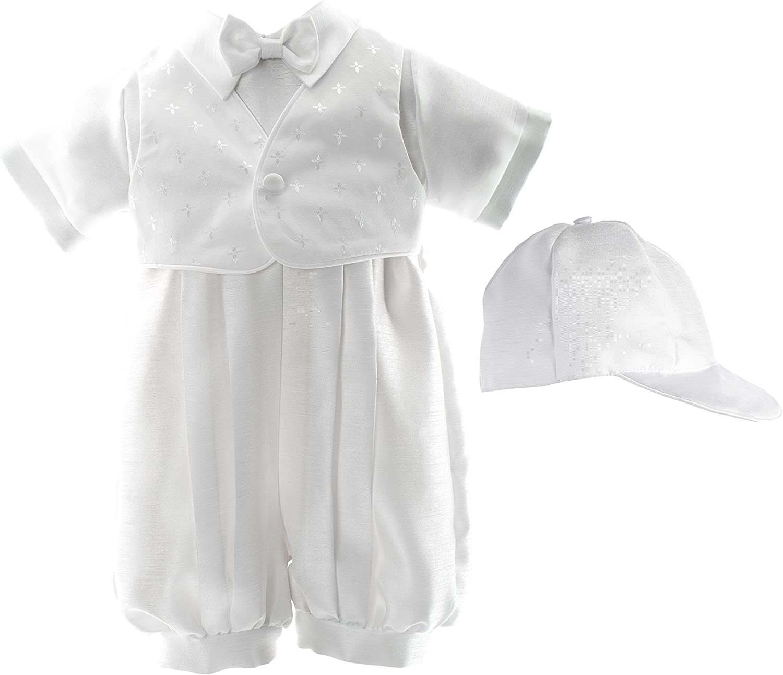 Haddad Brothers Baby-Boys Newborn Christening Baptism Satin Long Pants with Vest