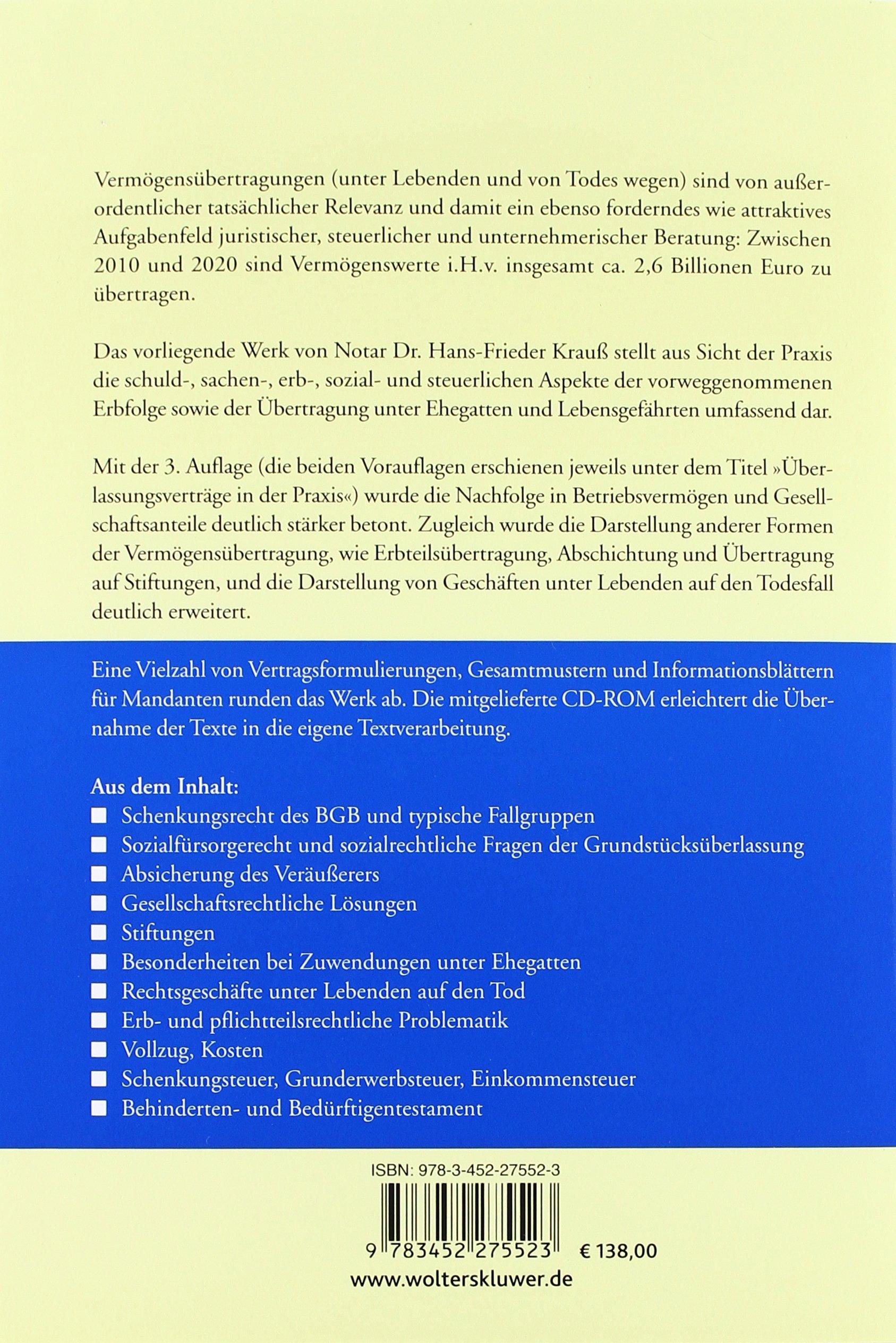 Vermögensnachfolge In Der Praxis Amazonde Hans Frieder Krauß Bücher