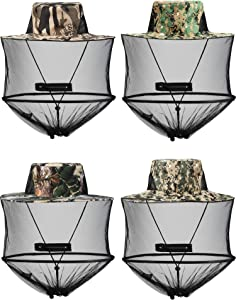 SATINIOR 4 Pieces Mosquito Head Mesh Mosquito Cap Net Hat Face Cover with Zipper Foldable Fly Protection Netting Hat for Outdoor Fishing Hiking Gardening
