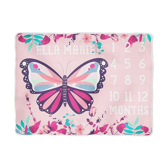Amazon.com: Mariposa Milestone – Manta peluche bebé niña ...
