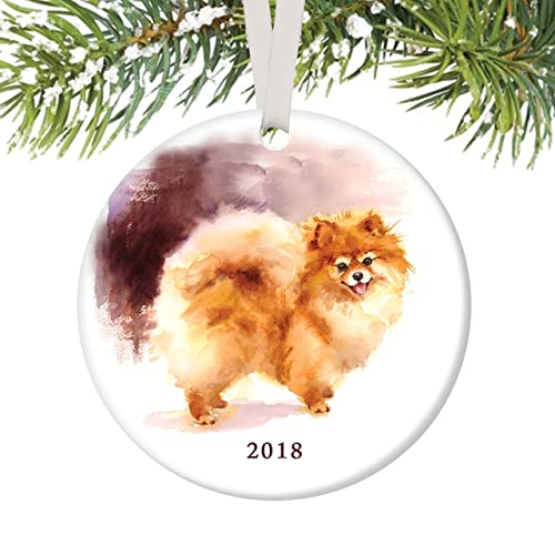 "Pomeranian Ornament 2018, Porcelain Ceramic Dog Ornament, 3"" Flat  Circle Christmas Ornament with - Amazon.com: Pomeranian Ornament 2018, Porcelain Ceramic Dog Ornament"