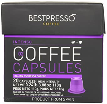 40 Bestpresso Nespresso Compatible Gourmet Coffee Capsules - Nespresso Pods Alternative: Intenso Blend Natural Espresso