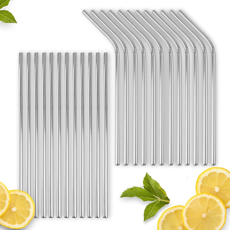 VINDOR Pajitas de acero inoxidable - reutilizables, sin plástico ...