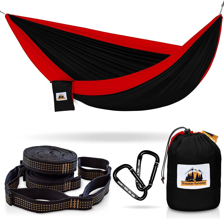 Traveler Fantasy Double Camping Hammock: Durable Nylon Parachute Portable Ultraweight Hammock Swing Backpacking Super Strong Straps /& Carabiner Beach Yard
