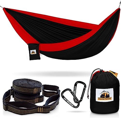 Traveler Fantasy Double Camping Hammock Durable Nylon Parachute Portable Ultraweight Hammock, Backpacking, Beach, Yard, Swing, Super Strong Straps Carabiner