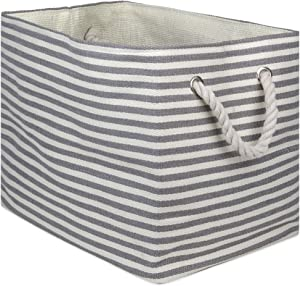 "DII, Woven Paper Storage Bin, Collapsible, 17x12x12"", Pinstripe Gray"