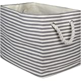 DII Paper Bin Pinstripe Gray Rectangle Large
