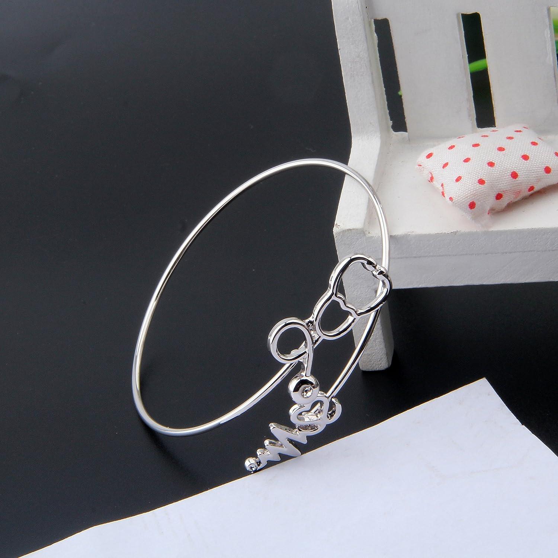 MAOFAED Nurse Heart Beat Stethoscope Bracelet Doctors Gift,Nurse Graduation Gift RN Nurse Gift EKG