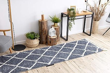 rugsx tapis de couloir berbere marocain shaggy franges berber pour la cuisine le hall le couloir cross gris 60x300 cm
