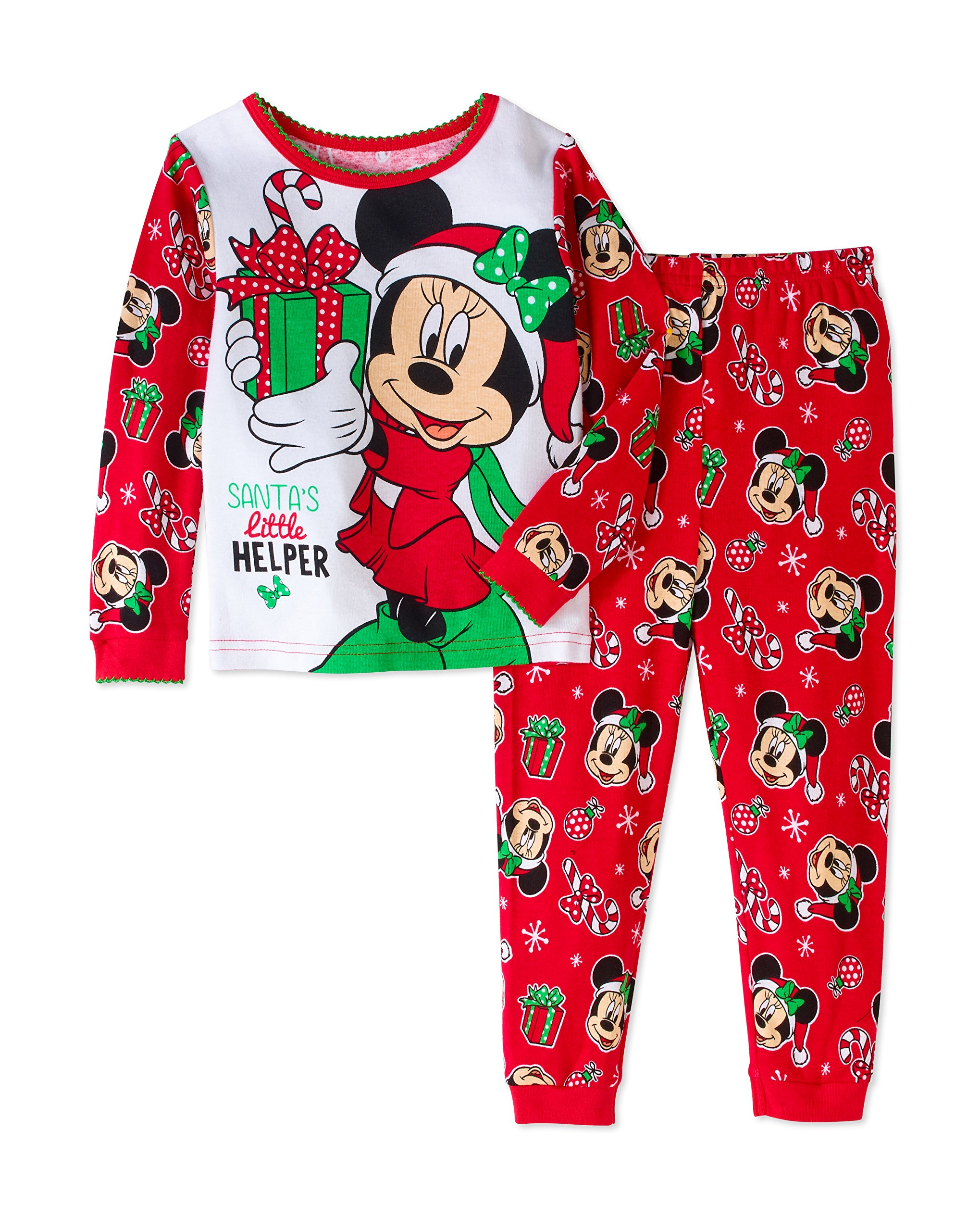 Disney Minnie Mouse Little Girls Toddler Christmas Pajama Set (2T)