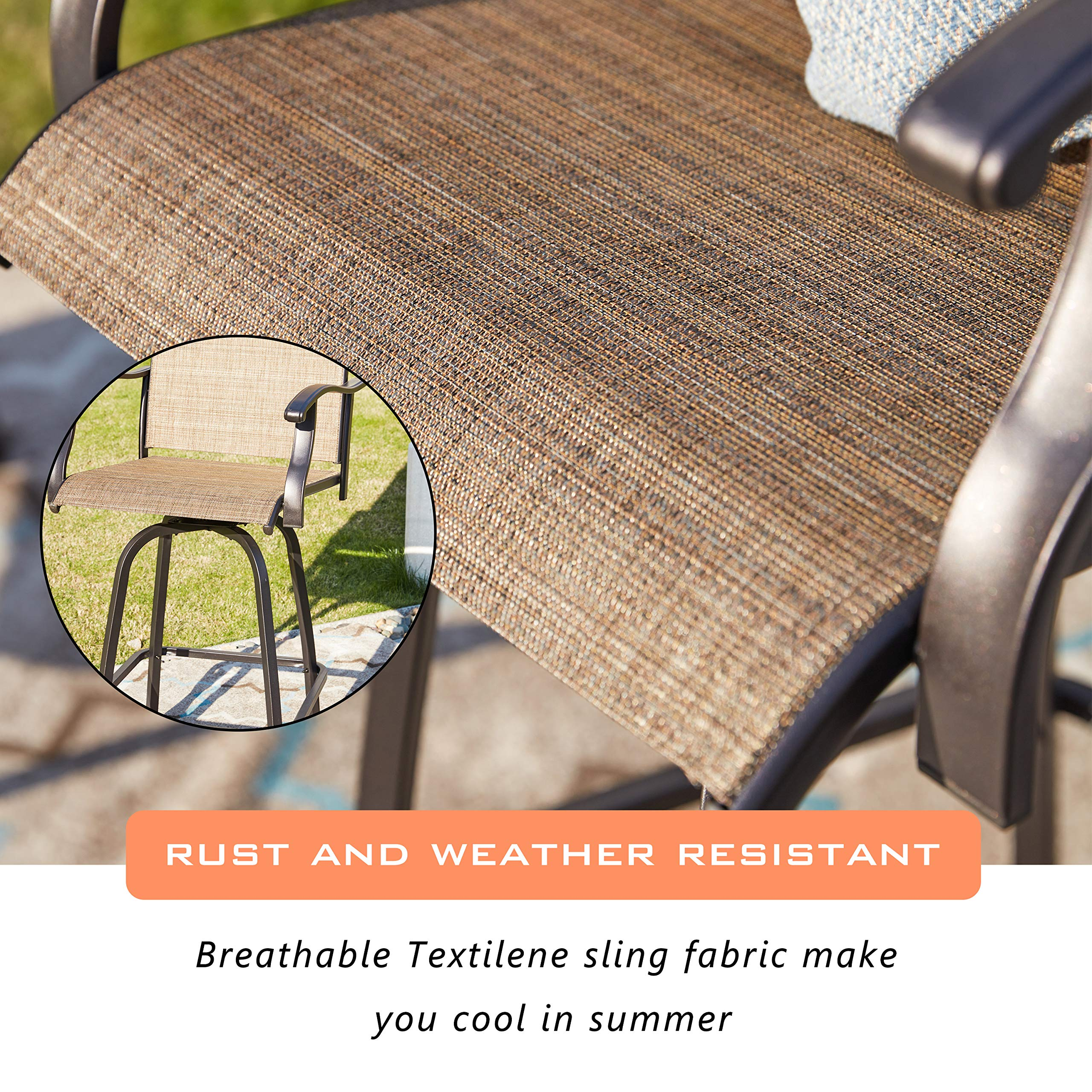 LOKATSE HOME 2 Piece Swivel Bar Stools Outdoor High Patio Chairs Furniture with All Weather Metal Frame, Beige-2chairs by LOKATSE HOME (Image #4)