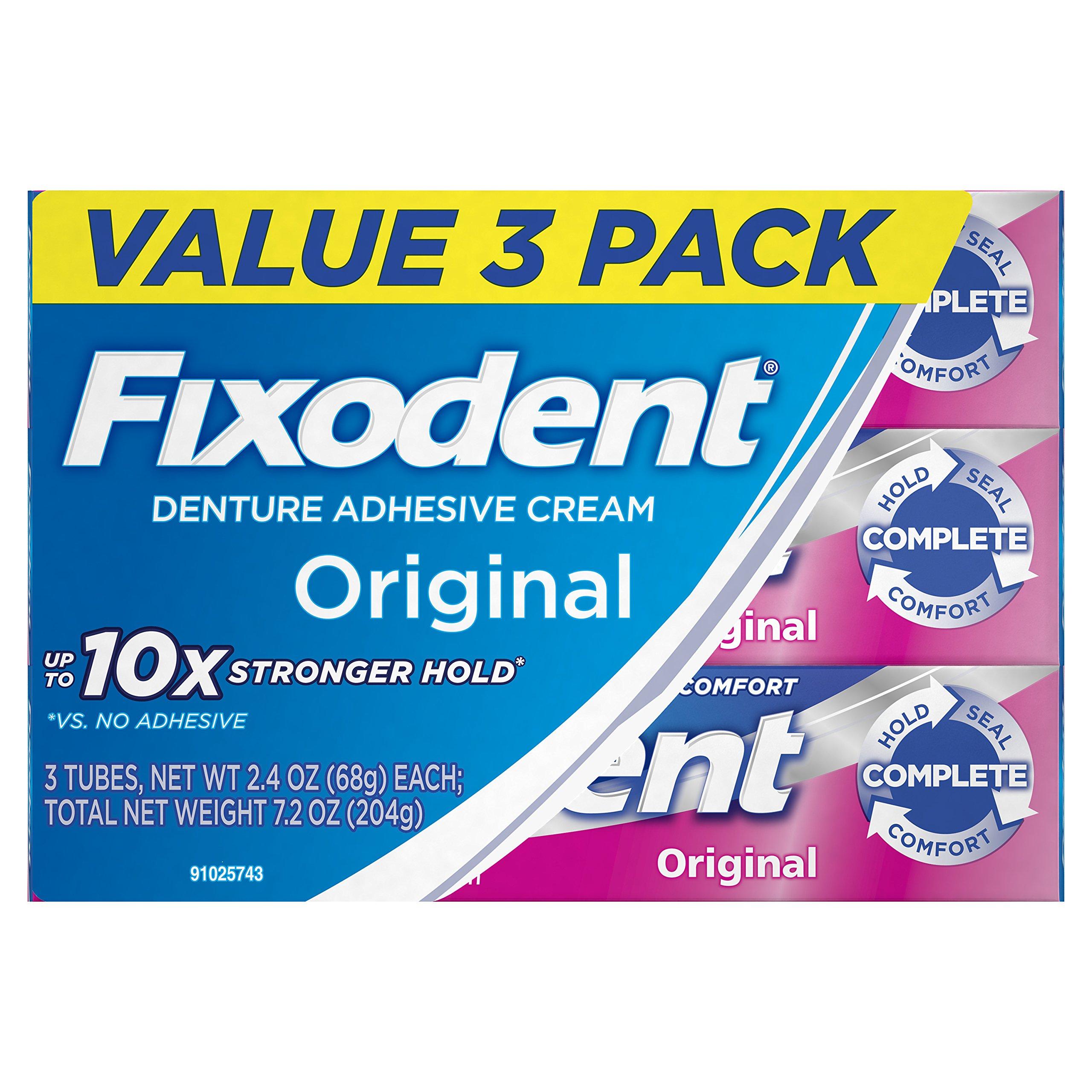 Fixodent Complete Original Denture Adhesive Cream, 2.4 oz, 3 Count