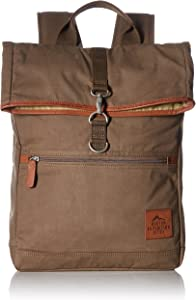 Buxton Men's Expedition Ii Huntington Gear Fold-Over Canvas Backpack, Olive, One Size