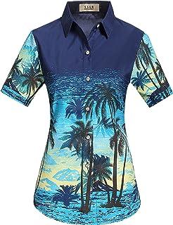 SSLR Camisa Mujer Hawaiana Aloha Manga Corta Casual Blusa Estampada