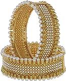 Zeneme Gold Plated Brass Bangle Set Jewellery for Women/Girls