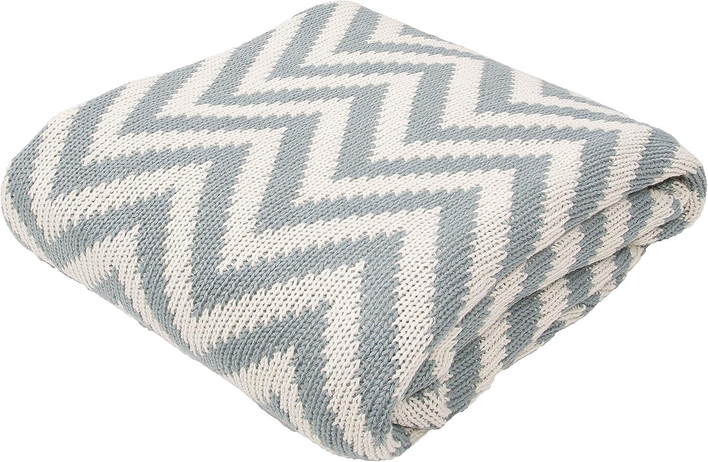50-Inch x 60-Inch Jaipur Soft Hand Stripe Pattern Gray Cotton Throw Smoke Blue Serin-1 THR100067