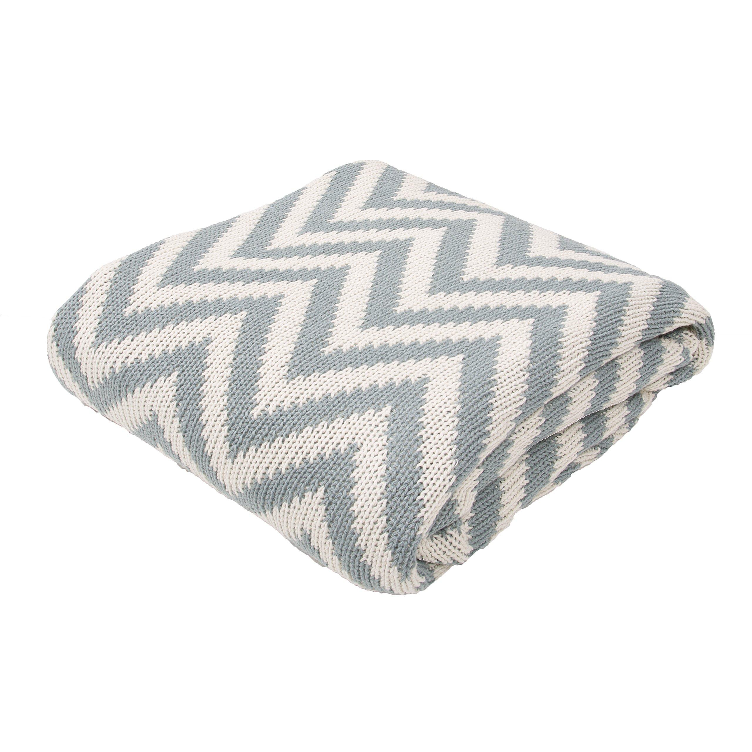 Jaipur Soft Hand Stripe Pattern Gray Cotton Throw, 50-Inch x 60-Inch, Smoke Blue Serin-1