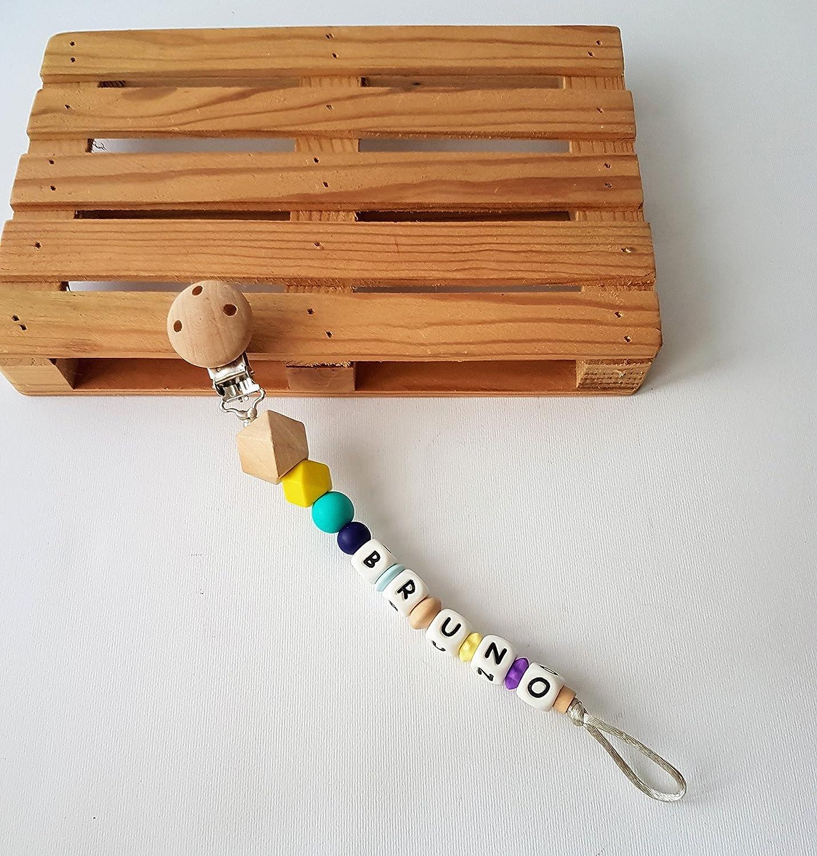 Cadena chupete personalizada nombre o palabra / Sujeta chupetes Mordedor Silicona y madera / Alivia en la etapa de dentición