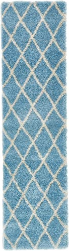 Unique Loom Opulence Trellis Shag Collection Plush Geometric Modern Moroccan Light Blue Runner Rug 2 7 x 10 0