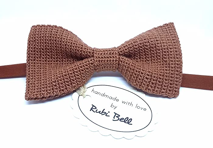 Amazon Brown Crocheted Bow Tie Handmade