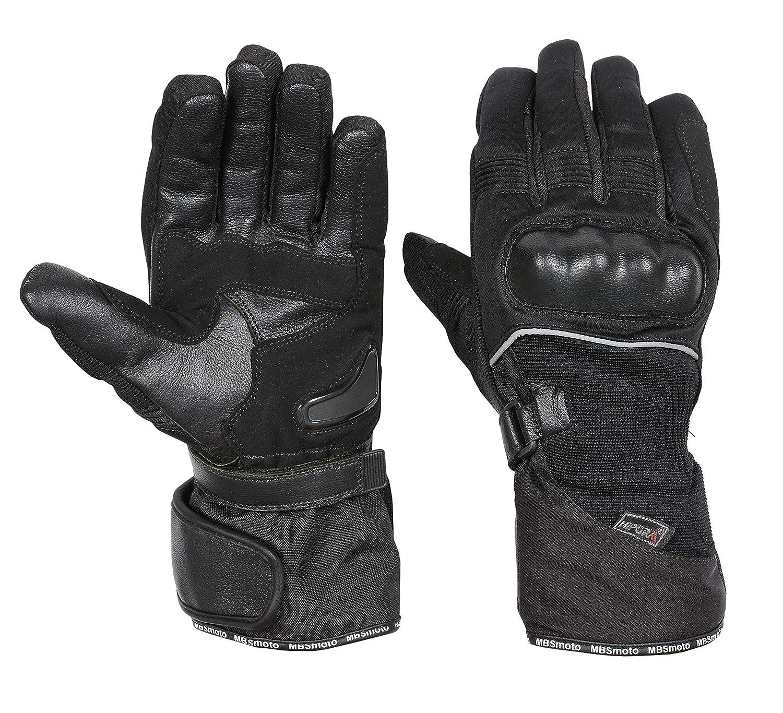 MBSmoto MBG39 Motorcycle Motorbike Winter Hipora Waterproof Textile Touring Gloves XL, Black