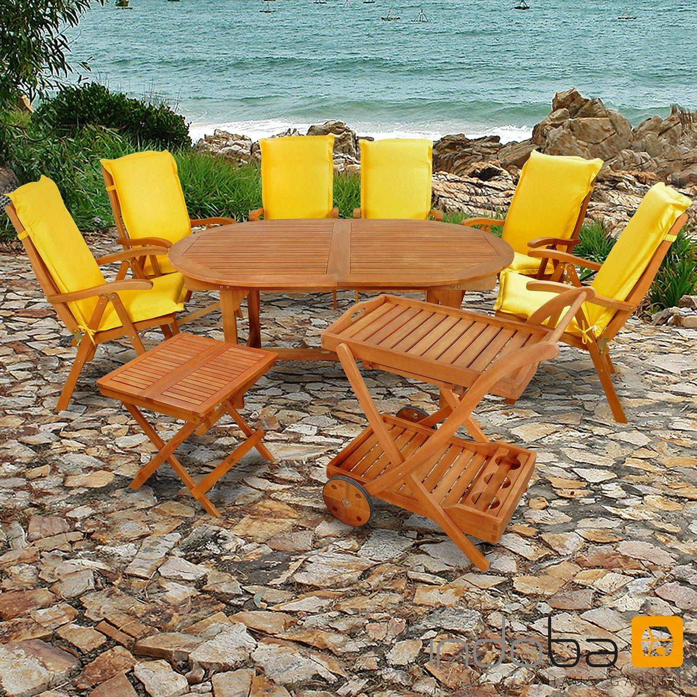 indoba® IND-70066-SFSE9BTSW + IND-70442-AUHL - Serie Sun Flair - Gartenmöbel Set 15-teilig aus Holz FSC zertifiziert - 6 klappbare Gartenstühle + 1 ausziehbarer Gartentisch + 1 Beistelltisch + 1 Servierwagen + 6 Premium Sitzauflagen gelb