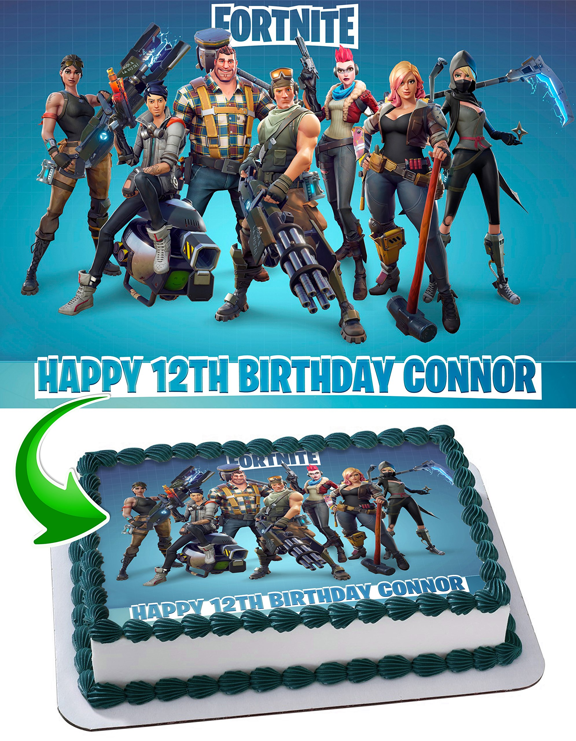 Fortnite Edible Image Cake Topper Personalized Icing Sugar Paper A4 Sheet Edible Frosting Photo Cake 1/4 ~ Best Quality Edible Image for cake by EdibleInkArt