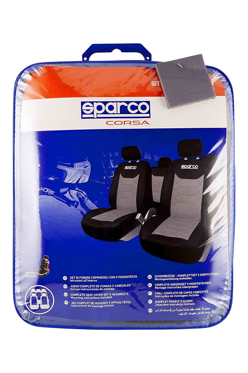 Black// Grey SPARCO SPC1016GR Universal Seat Covers
