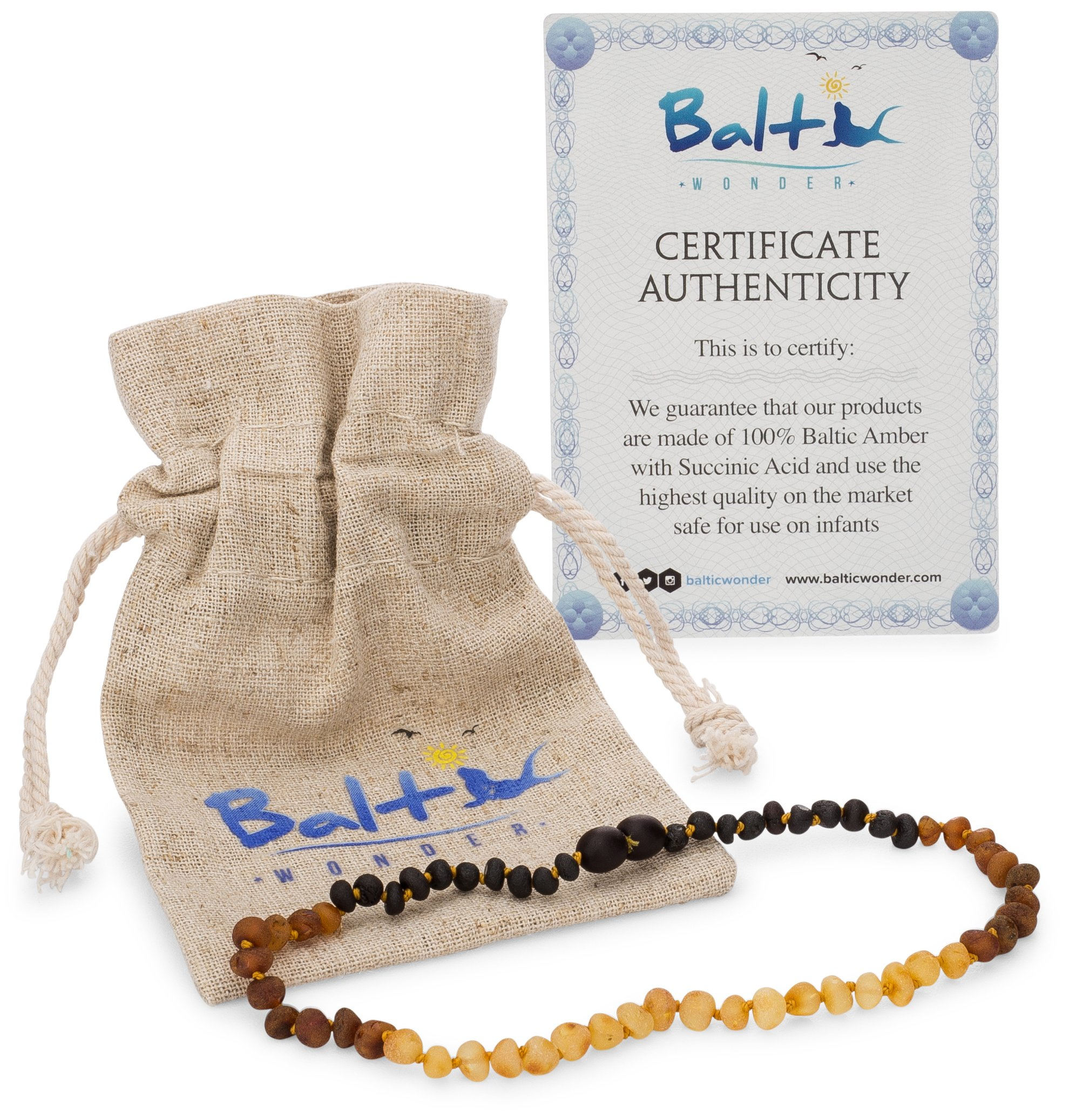 Raw Baltic Amber Teething Necklaces for Babies (Unisex) (Reverse Rainbow) - Anti Flammatory, Drooling & Teething Pain Reduce Properties - Natural Certificated with The Highest Quality Guaranteed. ... by Baltic Wonder