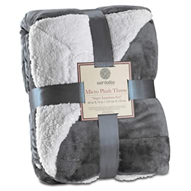 Genteele Super Soft Luxurious Sherpa Throw Blanket, 60  X 70 , Gray