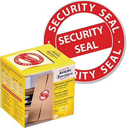 Avery España 7312 - Sello de seguridad, 38 mm, color rojo: Amazon ...