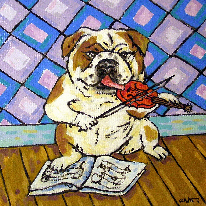 Dachshund playing violin dog art tile coaster gift