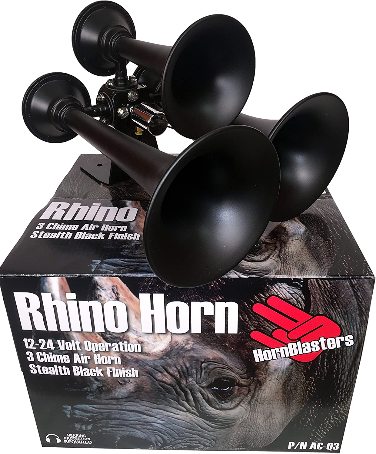 3 Trumpet Rhino and 3 Liter Air Source Unit Combo Air Horn Kit HornBlasters Crazy Loud Small Compact 2 Trumpet Spocker