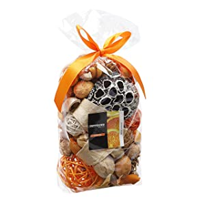 Qingbei Rina Yellow Color Orange Scent Summer Potpourri Dried Flowers,Perfume Sachet, Decorative Bag and Gift - Rattan Balls,Lotus Pods, Pine Cones,Dried Plants and Flowers Volume of 60 OZ